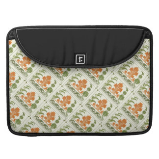 Art Deco Pattern Abstract Floral Orange Moss Green Sleeves For MacBooks