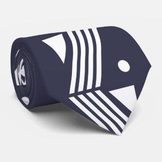 art deco pattern - dark blue white neck tie