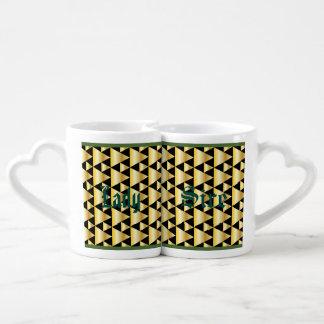Art deco,pattern,gold,black,elegant,chic,vintage, couples' coffee mug set