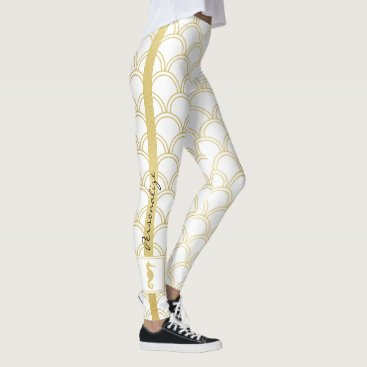 Beach Themed Art Deco Pattern Gold Seahorse Nautical Vintage Leggings