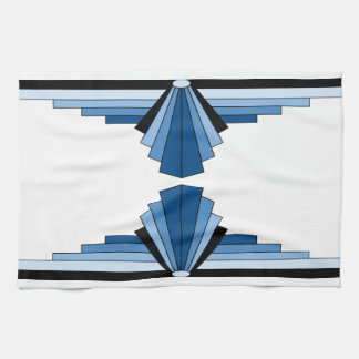 Art Deco Pattern in Blues Kitchen Towel