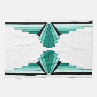 Art Deco Pattern in Greens Hand Towels