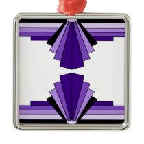 Art Deco Pattern in Purples Metal Ornament