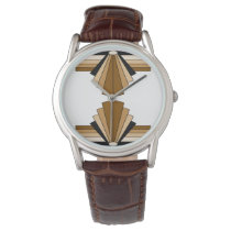 Art Deco Pattern in Tans Wrist Watch