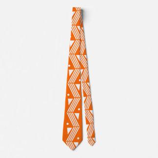 art deco pattern - neon orange white tie