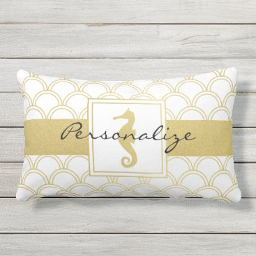 Beach Themed Art Deco Pattern Seahorse Faux Gold Cool Modern Outdoor Pillow