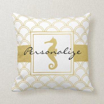 Beach Themed Art Deco Pattern Seahorse Faux Gold Cool Modern Throw Pillow