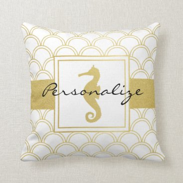 Beach Themed Art Deco Pattern Seahorse Faux Gold Vintage Throw Pillow