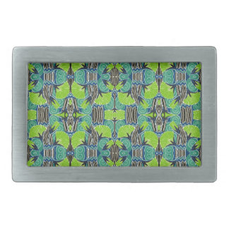 Art Deco Pattern - Tropical Greens and Blues Belt Buckle