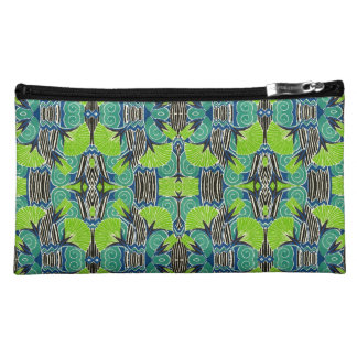 Art Deco Pattern - Tropical Greens and Blues Cosmetic Bag