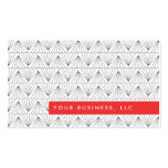 Art Deco Pattern with Red Bar Business Card Design