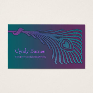 Art Deco Peacock Feather Business Card Set 1103