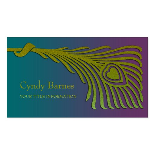 Art Deco Peacock Feather Business Card Set 1104