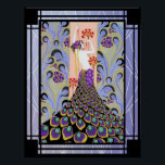 """Art Deco Peacock Feathered Lady Poster<br><div class=""""desc"""">This poster is art deco,  featuring a peacock feathered lady. I have also added a background to this poster. It has lovely colors to it and would be great as a poater,  print for your home or for craft. There are different sizes to choose from in the side menu.</div>"""