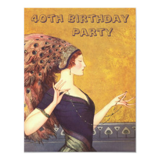 Art Deco Peacock Flapper 40th Birthday Party 4.25x5.5 Paper Invitation Card