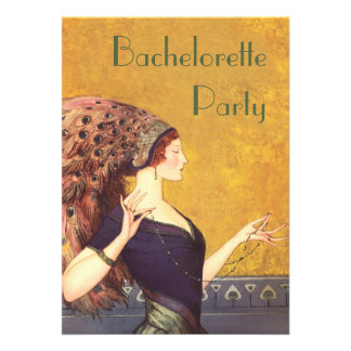 Art Deco Peacock Flapper Bachelorette Party Custom Invitations