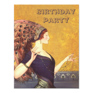 "Art Deco Peacock Flapper Birthday Party 4.25"" X 5.5"" Invitation Card"