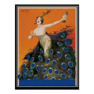 Art Deco peacock Girl  Vintage Poster Posters