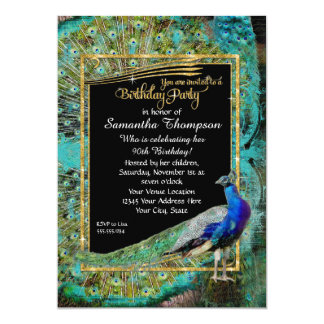 Art Deco Peacock Glam Old Hollywood Birthday Party Card