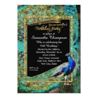 Art Deco Peacock Glam Old Hollywood Birthday Party Invitation