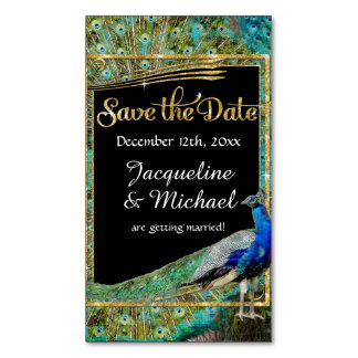 Art Deco Peacock Glam Old Hollywood Save the Date Magnetic Business Card