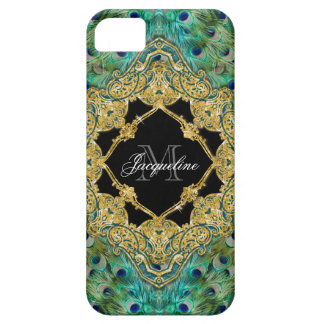 Art Deco Peacock Gold Glitter Old Hollywood Gatsby iPhone SE/5/5s Case