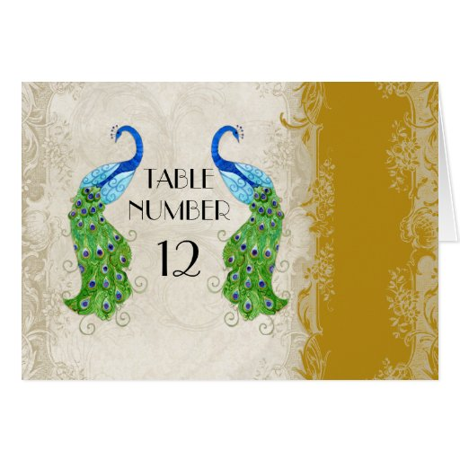 Art Deco Peacock Gold Table Numbers Card