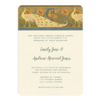 Art Deco Peacock Parade Bird Wedding Invitation