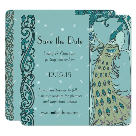 Art Deco Peacock Save the Date Invitations