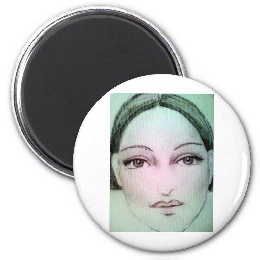 art deco pencil 2 inch round magnet