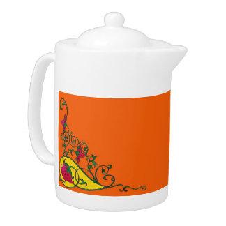 Art Deco Peonies Tea Pot