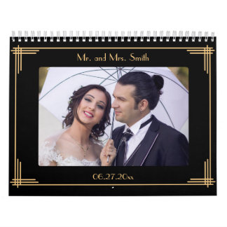 Art Deco Personalized Wedding Wall Calendar