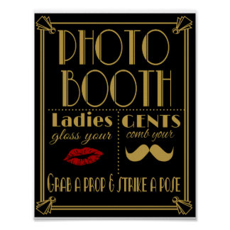 Art Deco PHOTO BOOTH print black and gold