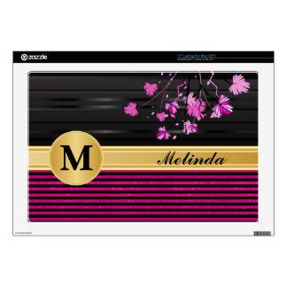 Art Deco Pink and Black Floral Laptop Skin