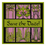 Art Deco Pink and Green Save the Date Cards Personalized Invite