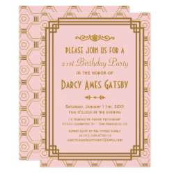 Art Deco Pink Birthday Party Invitations