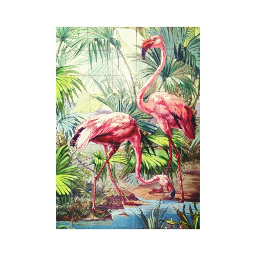 Art Deco Pink Flamingos Canvas Print