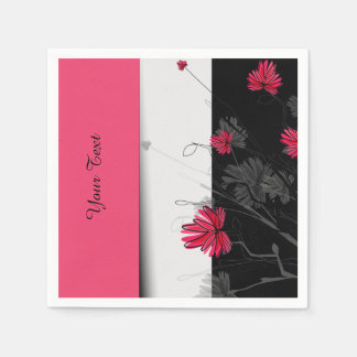 Art Deco Pink Floral Paper Napkin