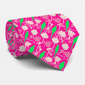 ART DECO PINK WHITE FLOWERS WITH GREEN PARROTS NECK TIE