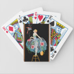 """Art Deco Playing Cards<br><div class=""""desc"""">Art deco playing cards with image of a woman and a parrot.</div>"""