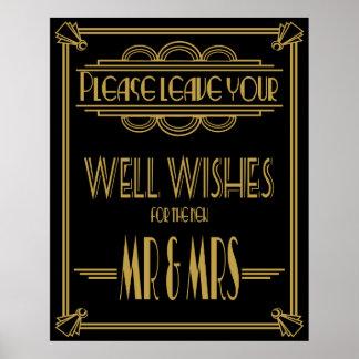 "Art Deco ""Please leave well wishes"" wedding print"