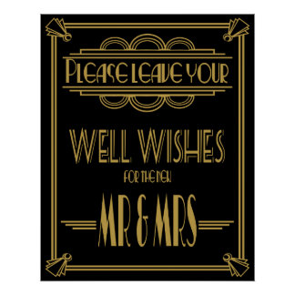 Art Deco Please leave well wishes wedding signs Posters
