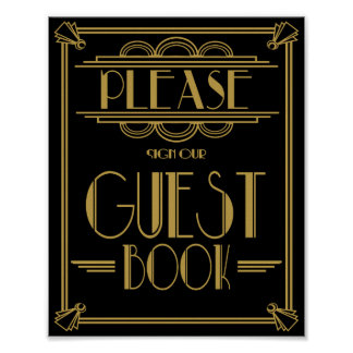 Art Deco Please sign our guest book wedding signs