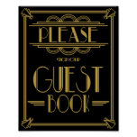 Art Deco Please sign our guest book wedding signs Poster