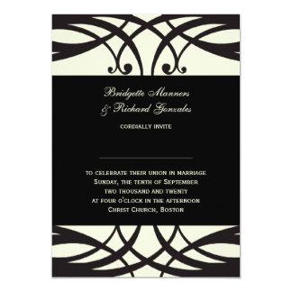 Art déco poner crema negro de las invitaciones del invitación 12,7 x 17,8 cm