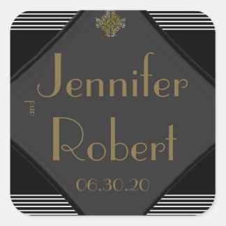 Art Deco Posh Wedding Envelope Seal Square Sticker