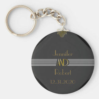 Art Deco Posh Wedding Keychain