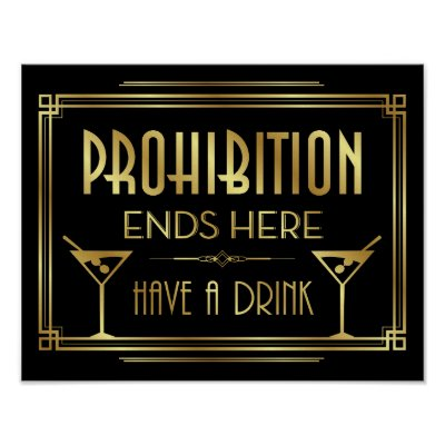 Art Deco PROHIBITION ENDS HERE Sign Print