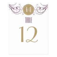 Art Deco purple and taupe Table Number Post Card