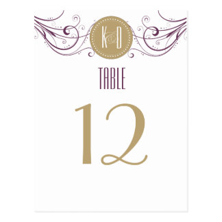 Art Deco purple and taupe Table Number Postcard